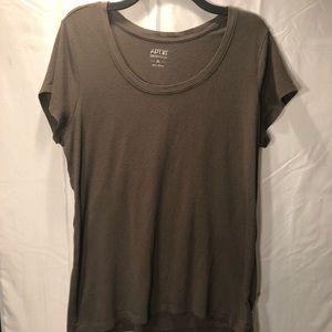 Apt. 9 Dark Olive/Grey Scoop Neck T Shirt